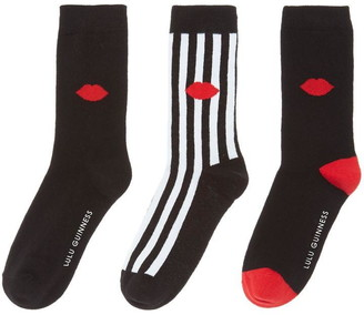 Lulu Guinness Stripe lip ankle sock 3 per pack