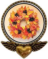 GiftJewelryShop Ancient Style Gold-plated Autumn Leaf Wreath Heart With Angel Wings Pins Brooch