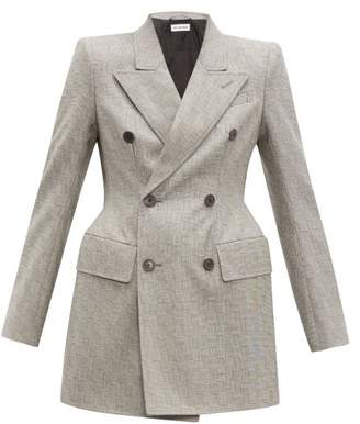 Balenciaga Hourglass Double Breasted Check Wool Blazer - Womens - Grey Multi