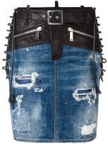 DSQUARED2 bondage denim skirt - women - Cotton/Calf Leather/Polyester/Spandex/Elastane - 38