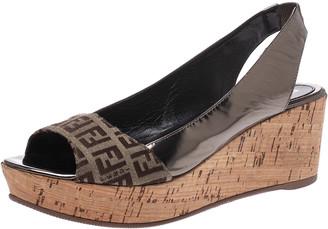 Fendi Brown FF Canvas And Metallic Bronze Leather Cork Wedge Platform Sandals Size 38