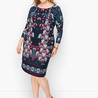 Talbots Knit Jersey Scroll Print Dress