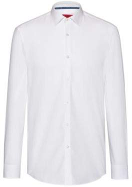 HUGO Slim-fit shirt in cotton with patterned inner trims