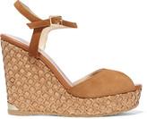 Jimmy Choo Perla Suede Wedge Sandals - Tan