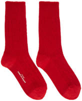 Comme des Garcons Red Cable Knit Socks