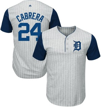 Majestic Men's Miguel Cabrera Gray/Navy Detroit Tigers From the Stretch Pinstripe Name & Number T-Shirt