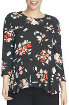 Chaus Three-Quarter Sleeve Floral Ruffle Blouse