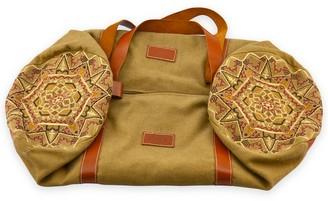 Gisy Earth Mandala Embroidered Canvas & Leather Barrel Bag