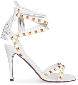 Valentino Rockstud Flair Ankle-Wrap Leather Sandals