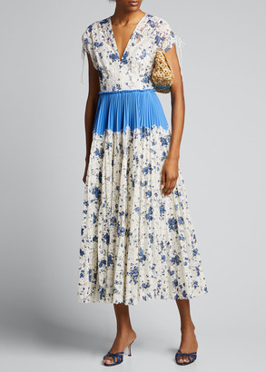 Lela Rose Floral Printed Corded Lace Gown