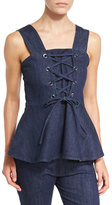 See by Chloe Sleeveless Laced Stretch Denim Peplum Top, Blue
