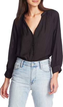 1 STATE 1.STATE Shadow Stripe V-Neck Button Front Blouse