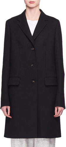 The Row Three-Button Long Wool Coat