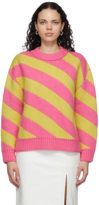Meryll Rogge Pink and Yellow Diagonal Stripe Sweater