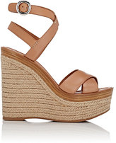 Prada Women's Crisscross Ankle-Strap Platform Sandals-Tan