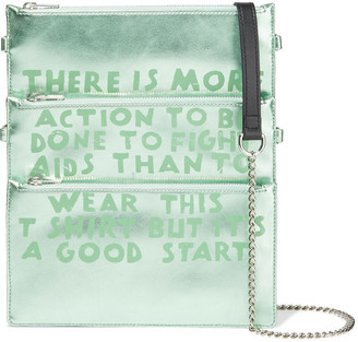 MM6 MAISON MARGIELA + Only The Brave Convertible Printed Metallic Faux Leather Shoulder Bag