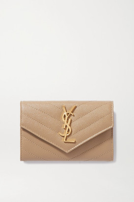 Saint Laurent Monogramme Small Quilted Textured-leather Wallet - Beige