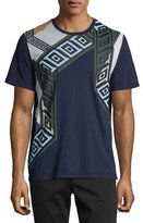 Versace Grecca Multicolored-Print Short-Sleeve T-Shirt, Navy