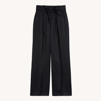 Sandro High-waisted wide-leg flowing trousers