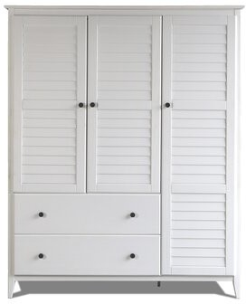 Greenport Armoire Grain Wood Furniture Color: Brushed White