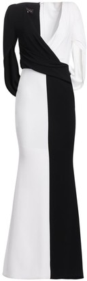 Talbot Runhof Wrap Eternity-Sleeve Gown