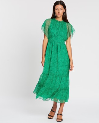 Whistles Sketched Floral Frill Sleeve Dress