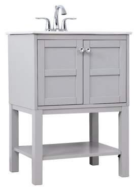 "Charlton Home Camellia 24"" Single Bathroom Vanity Set Charlton Home Base Finish: Gray"