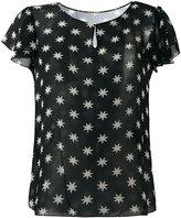 Saint Laurent star print sheer blouse - women - Silk - 36