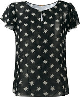 Saint Laurent star print sheer blouse - women - Silk - 38