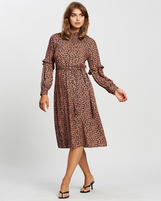 Vero Moda Women's Brown Midi Dresses - Milda Long Sleeve Calf Dress - Size One Size, XS at The Iconic