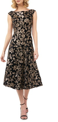Kay Unger Alessia Sequin & Velvet Fit & Flare Midi Dress