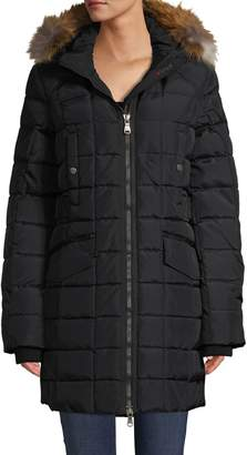 Pajar Square Quilted Down-Blend & Fox Fur-Trim Coat