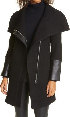 Club Monaco Halli Wool & Leather Moto Coat