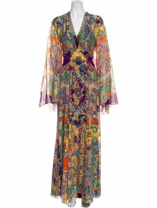 Etro Silk Long Dress Yellow