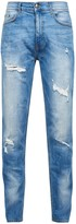 Burton Mens Light Carter Tapered Fit Jeans with Backed Rips