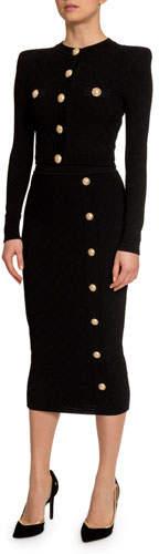 Balmain Long-Sleeve Button-Front Diamond Cardigan