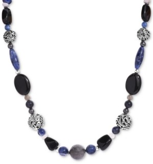 """Carolyn Pollack Multi-Gemstone Beaded Statement Necklace in Sterling Silver, 19"""" + 2"""" extender"""