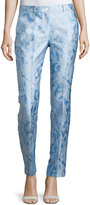 Michael Kors Samantha Paisley-Print Skinny Pants, Oxford/Optic White