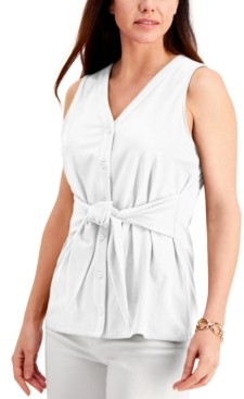 Charter Club Tie-Front Sleeveless Top, Created for Macy's