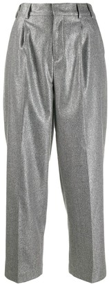 Pt01 Metallic Cropped Trousers