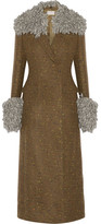 Christopher Kane Fringed Mélange Wool-blend Coat - Army green