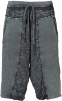 Lost & Found Ria Dunn - distressed track shorts - women - Cotton/Linen/Flax/Spandex/Elastane - S