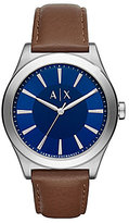Armani Exchange Nico Analog Leather-Strap Watch