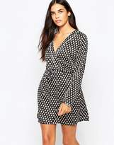 Goldie Stay Curious Wrap Dress In Daisy Dot Print
