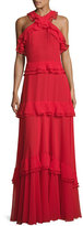 Talbot Runhof High-Neck Sleeveless Tiered Ruffle Gown, Red