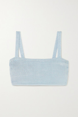 Calle Del Mar Cropped Stretch-knit Top - Blue
