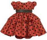 Bonnie Baby girls Infant Flocked Dot Dress With Peter Pan Collar