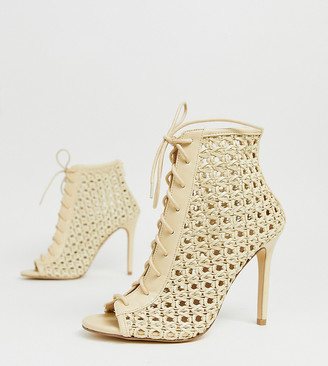 Miss Selfridge woven heeled shoes with lace up in cream