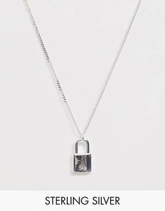 Chained & Able sterling silver padlock neck chain in silver