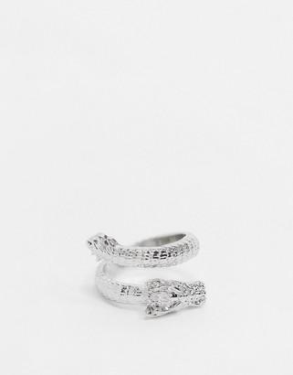 ASOS DESIGN ring in wraparound dragon design in silver tone